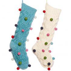 Fair Trade Knitted Pom Pom Stockings