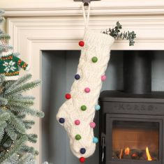 Fair Trade Hand Knitted Pom Pom Stockings