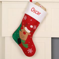 Personalised Peeping Reindeer Children's Christmas Stocking