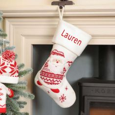 Personalised Snowy Santa Children's Christmas Stocking