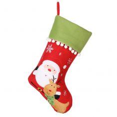 Santa and Reindeer Pom Pom Christmas Stocking
