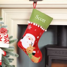Personalised Santa and Reindeer Pom Pom Christmas Stocking
