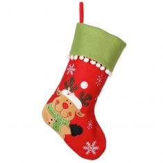 Waving Reindeer Pom Pom Christmas Stocking