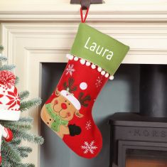 Personalised Waving Reindeer Pom Pom Christmas Stocking