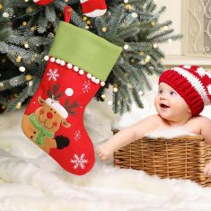 Baby's 1st Pom Pom Knit Christmas Stocking Collection