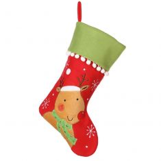 Smiling Rudolph Pom Pom Christmas Stocking