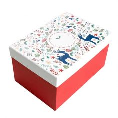 Red and White Reindeer Christmas Eve Gift Box