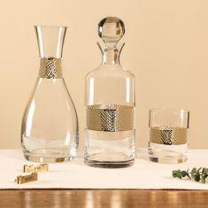 Diamond Embossed Gold Barware and Glassware