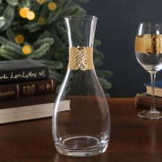 Gold Band Glass Drinks Serving Carafe