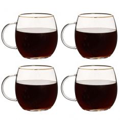 Set of 4 Pot Bellied Glass Mugs