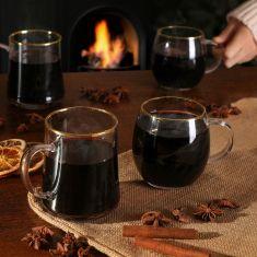 Gold Rimmed Mulled Wine Mugs