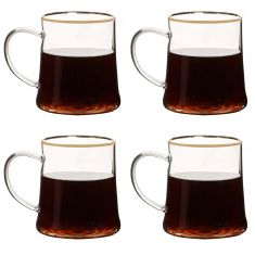 Set of 4 Gold Rimmed Glass Mugs