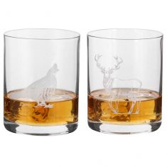 Pair of Highland Etched Tumblers