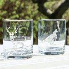 Etched Pheasant and Stag Whisky Tumblers