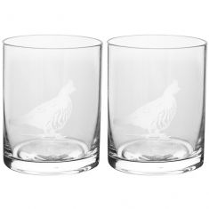Set of 2 Etched Pheasant Tumblers