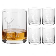 Set of 4 Etched Stag Whisky Tumblers