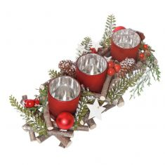 Frosted Woodland Trio Candle Holder