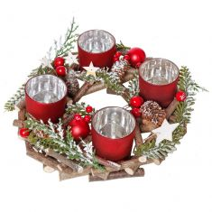 Frosted Woodland Round Candle Holder