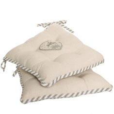 Set of 2 Grey Stripe Deer Seat Pads