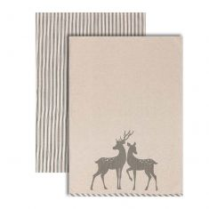Set of 2 Grey Stripe Deer Tea Towels