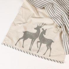 Set of 2 Grey Stripe Deer Tea Towels