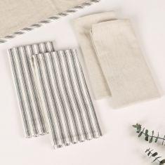 Set of 2 Grey Stripe Fabric Napkins