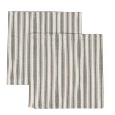 Set of 2 Grey Stripe Fabric Napkins