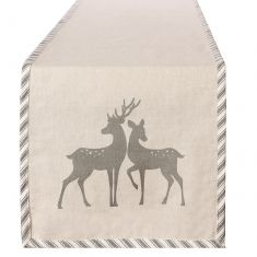 Grey Deer Fabric Table Runner