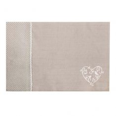Set of 2 Grey Love Birds Fabric Placemats