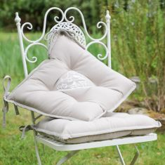Set of 4 Grey Love Birds Tie-On Dining Chair Seat Cushions