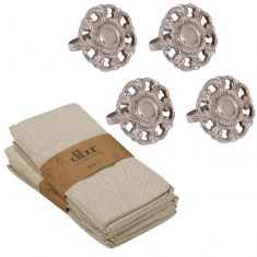 Set of 4 English Rose Napkin Rings & Napkins