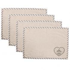 Set of 4 Grey Deer Fabric Placemats