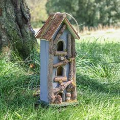 Personalised Grey Three Tier Natural Wooden Bird House
