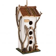 White Cottage Three Window Bird House