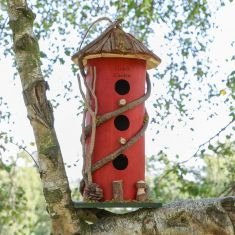 Personalised Red Three Tier Natural Wooden Bird House