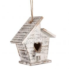 Hanging Heart White Wooden Bird House