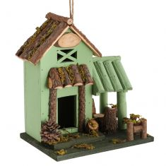 Green Wooden Country Lodge Bird House