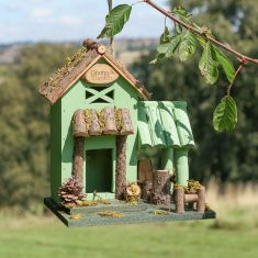 Personalised Green Wooden Country Lodge Bird House