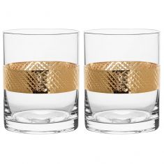 Pair of Gold Band Drinks Tumblers