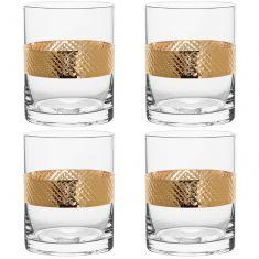 Set of 4 Gold Glass Tumblers