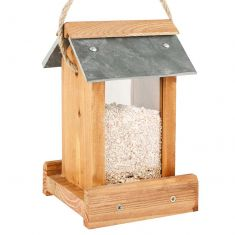 Hanging Wooden Bird Feeder with Slate Roof
