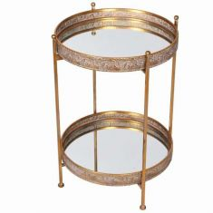 Two Tier Gold Mirrored Bar Tray Table