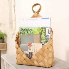 Woven Wood Wall Hanging Magazine Basket