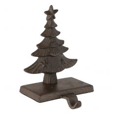 Cast Iron Antique Brown Christmas Tree Stocking Holder