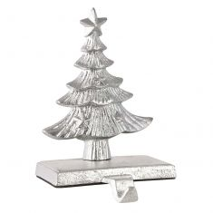Cast Iron Silver Christmas Tree Stocking Holder