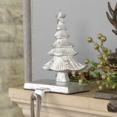 Cast Iron Silver Christmas Tree Stocking Holder