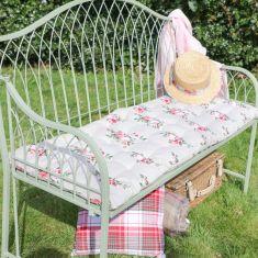 English Rose Floral Print Garden Bench Cushion