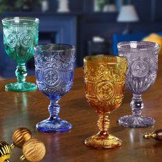 Set of 4 Coloured Wine Goblets