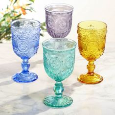 Set of 4 Coloured Wine Goblets