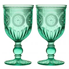 Pair of Turquoise Embossed Goblets